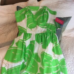 NWT Lilly Pulitzer Strapless Dottie Dress Size 0